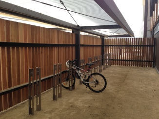 Bicycle storage area for staff and students with direct access to the building. There are also showers and end of trip facilities to encourage uptake of cycling.